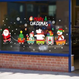 【聖誕布置/半島良品】聖誕款DIY無痕壁貼/牆貼-XH6252 聖誕老人火車(聖誕 節慶 樹 聖誕老人 麋鹿)