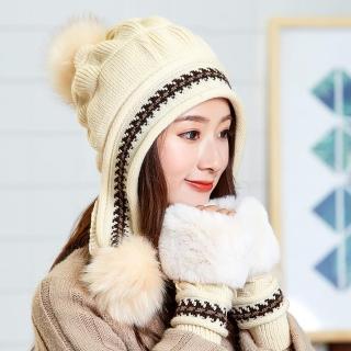 【Acorn*橡果】韓系針織保暖護耳毛帽+手套1809(兩件組-卡其)