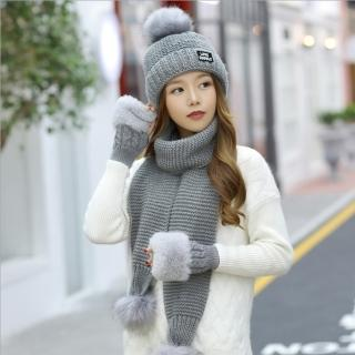 【Acorn*橡果】韓系針織保暖加厚毛帽+圍巾+手套1802(三件組-灰色)