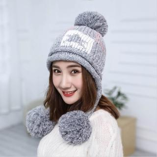 【Acorn*橡果】韓系百搭大毛球保暖護耳毛帽1808(灰色)