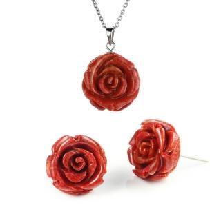 【大東山珠寶】玫瑰珊瑚項鍊耳環套組(造礁珊瑚)