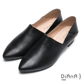 【DIANA】簡約時尚-素色兩穿2way羊皮樂福鞋(黑)