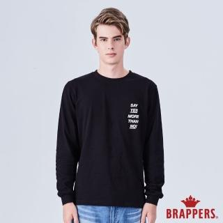 【BRAPPERS】男款 簡約字母印花長袖T恤(黑)