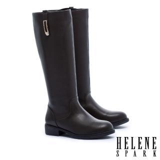 【HELENE SPARK】簡約率性金屬方飾低跟長靴(綠)