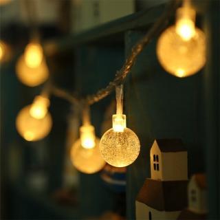 【溫馨時刻】水晶球小燈泡 LED串燈 聖誕燈 派對 居家 陽台 兒童房 商業佈置 電池款(2米 20顆暖色燈)