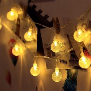 【溫馨時刻】水晶球 LED串燈 聖誕燈 派對 居家 陽台 兒童房 商業佈置 電池款(3米 30顆暖色燈)