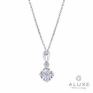 【A-LUXE 亞立詩】18K金0.10克拉雙倍顯鑽鑽石項鍊