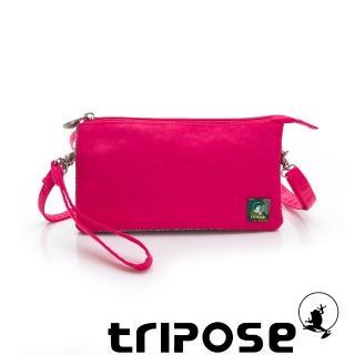 【tripose】漫遊系列岩紋簡約微旅手拿/側肩包(桃紅)