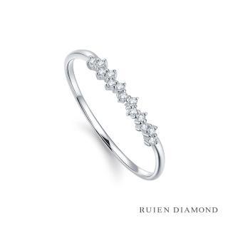 【RUIEN DIAMOND 瑞恩鑽石】真鑽50分 鑽石戒指 女款 線戒(18k白金 花漫)
