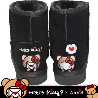 【Ann'S】HELLO KITTY X Ann'S棕色熊熊精密彩色刺繡超短筒麂皮雪靴(黑)
