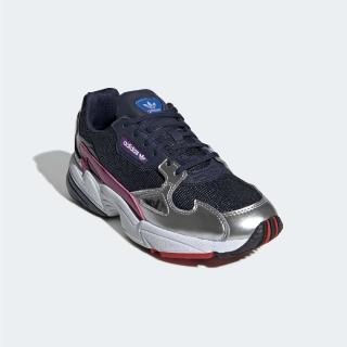 【adidas 愛迪達】休閒鞋 Falcon 經典 運動 女鞋 愛迪達 球鞋 穿搭 舒適 潮流 老爹鞋 藍 銀(CG6213)