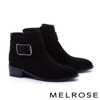 【MELROSE】簡約率性金屬方釦帶麂皮粗低跟短靴(黑)