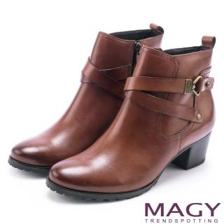 【MAGY】街頭率性 交叉皮帶牛皮工程踝靴(棕色)