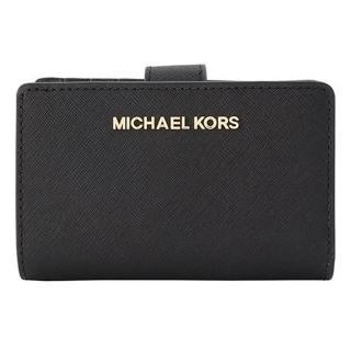 【Michael Kors】黑色防刮皮扣式拉鍊中夾