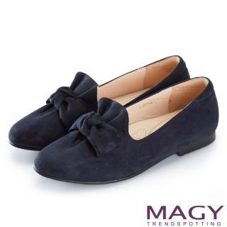 【MAGY】復古上城女孩 抓皺蝴蝶結平底鞋(藍色)
