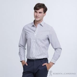 【ROBERTA 諾貝達】清爽休閒 合身版 條紋純棉長袖襯衫(暗藍)