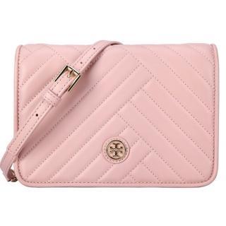 【TORY BURCH】粉色ALEXA COMBO 優雅山型紋皮革翻蓋鏈帶斜背包