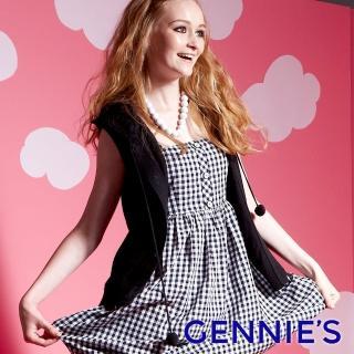 【Gennies 奇妮】休閒素色連帽針織背心外套/罩衫(黑/藍GSY11)