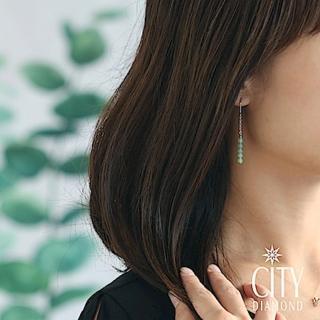 【City Diamond 引雅】天然東菱玉不對稱長掛型耳環(手作設計系列)
