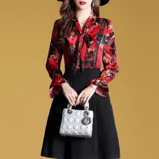 【FQ時尚天后】紅衣印花假蕾絲吊帶黑裙洋裝(S-2XL)