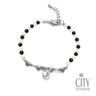 【City Diamond 引雅】天然水滴珍珠黑白瑪瑙愛心手鍊(手作設計系列)