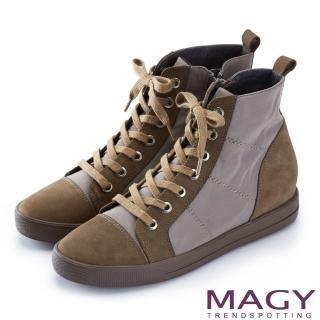 【MAGY】個性街頭 牛皮拼接防水布面綁帶內增高短靴(綠色)