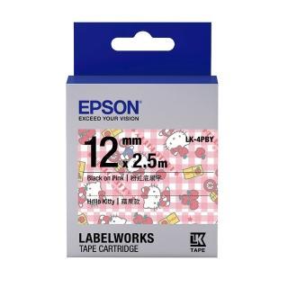 【EPSON】標籤帶 Kitty系列-蘋果款 粉紅底黑字/12mm(LK-4PBY)