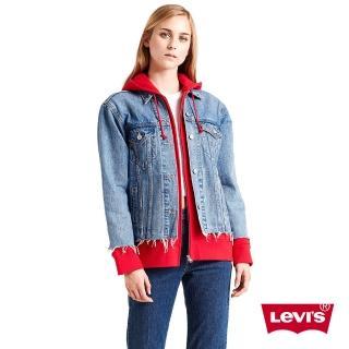【LEVIS】女款 牛仔外套 / 連帽假兩件 / 下擺不收邊
