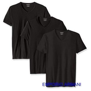 【EMPORIO ARMANI】2019時尚舒適黑色V領內衣3件組-網
