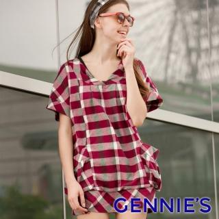【Gennies 奇妮】經典格紋反摺袖長版上衣(紅/灰C3Y19)