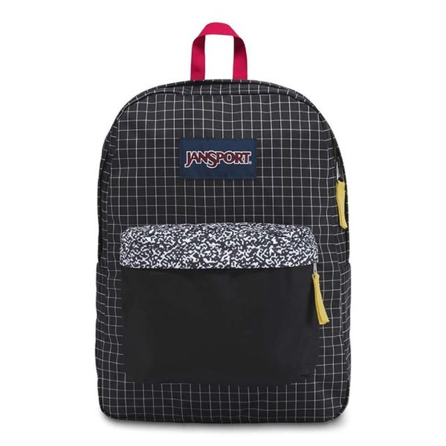 【JANSPORT】校園背包-SUPER BREAK(黑方格網)