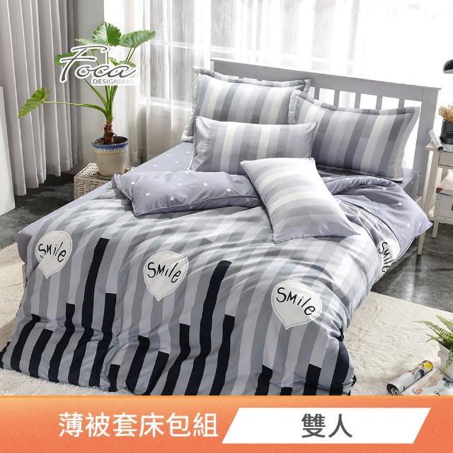 【FOCA】雙人-北歐風活性印染100%雪絨棉四件式被套床包組(午夜12點)/