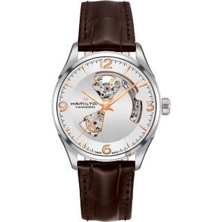 【HAMILTON 漢米爾頓】JAZZMASTER 爵士開心機械錶-銀x咖啡/42mm(H32705551)