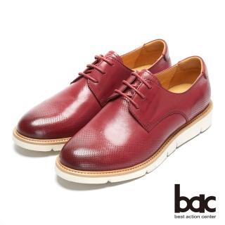 【bac】都會新秀 - 擦色感沖孔中性風格鏤空綁帶深口平底鞋(酒紅色)