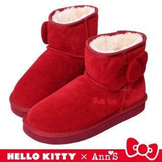 【Ann'S】HELLO KITTY X Ann'S側邊立體澎澎大蝴蝶結短筒真皮雪靴(紅)