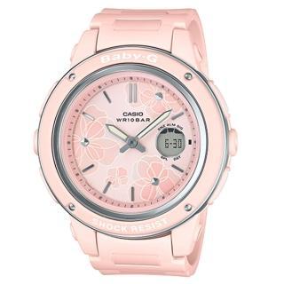 【CASIO 卡西歐】BABY G 酷炫雙顯女錶 橡膠錶帶 粉色 防水100米(BGA-150FL-4A)