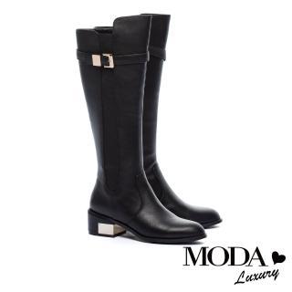 【MODA Luxury】摩登俐落拼接設計金屬釦帶粗跟長靴(黑)
