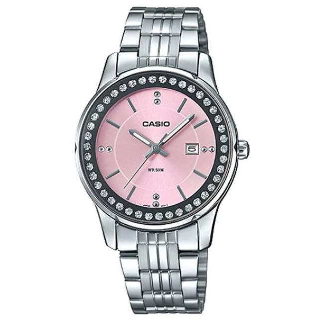【CASIO 卡西歐】天空之城晶鑽女伶不鏽鋼優雅腕錶-粉(LTP-1358D-4A2)