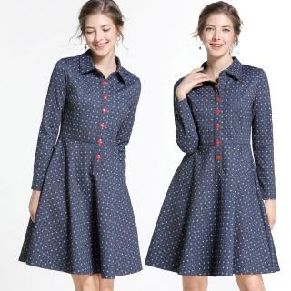 【麗質達人】79502藍色印花洋裝(M-5XL)