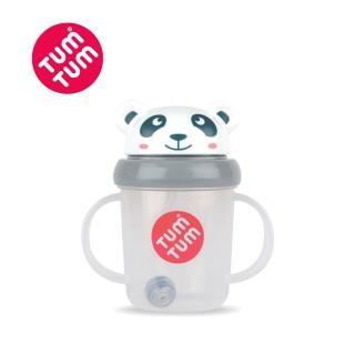 【TUM TUM】熊貓皮普-頭蓋型防漏學習水杯(灰)