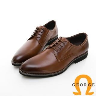 【GEORGE 喬治皮鞋】輕量系列 舒適綁帶柔軟紳士皮鞋-棕色