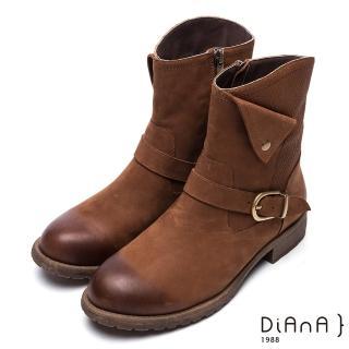 【DIANA】簡約率性-方釦反摺編織紋拼接真皮工程靴(棕)