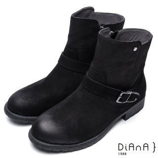 【DIANA】簡約率性-經典方釦編織紋拼接鉚釘真皮工程靴(黑)