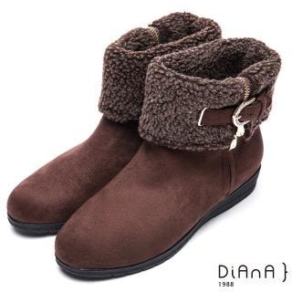 【DIANA】俏麗有型--翻領羔羊毛皮帶鑽飾羊絨厚底短靴(咖)/