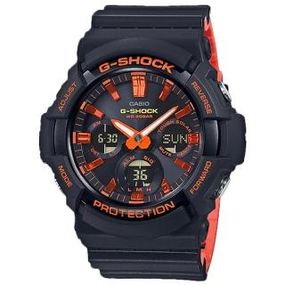 【CASIO 卡西歐】G-SHOCK 酷炫雙顯男錶 太陽能 橡膠錶帶 黑X橘 防水200米(GAS-100BR-1A)