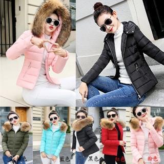 【A3】暖心毛領短版羽絨棉外套(紅色、綠色、黑色、藍色、粉色)