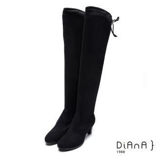 【DIANA】窈窕迷人-後綁帶絨布膝上高跟長靴(黑)