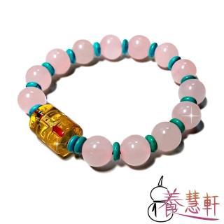 【養慧軒】天然粉晶+琉璃+綠松 三寶圓珠手鍊(圓珠直徑10mm)