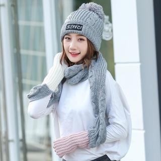 【Acorn*橡果】韓系撞色加絨毛帽+露指手套圍巾1815(兩件組-灰色)