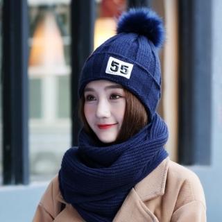 【Acorn*橡果】韓系甜美護耳加絨毛帽+圍巾1820(兩件組-藍色)